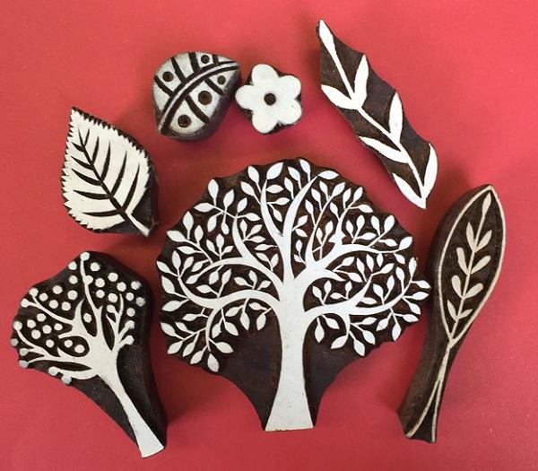 Indian wooden block printing set- Trees & Leaves