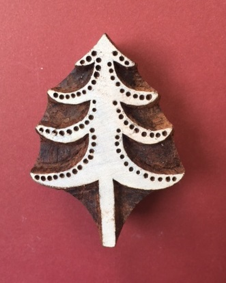 Block Craft- Indian Wooden Printing Block Detailed Spotty Christmas Tree