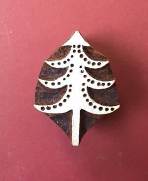 Block Craft- Indian Wooden Printing Block Small Detailed Spotty Christmas Tree