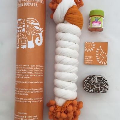 Indian Block Printing Scarf Kit- Orange Elephants