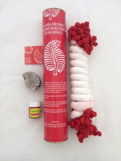 Block print your own Red Leaf Scarf kit