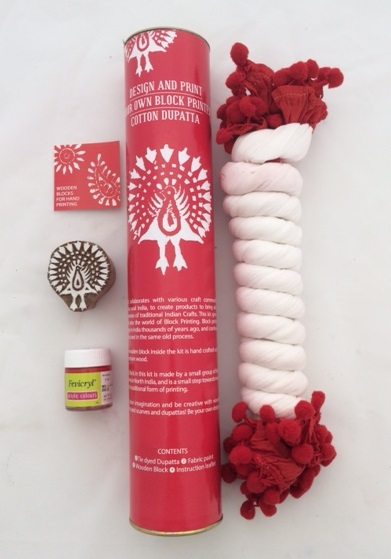 Block print your own scarf kit- red peacock