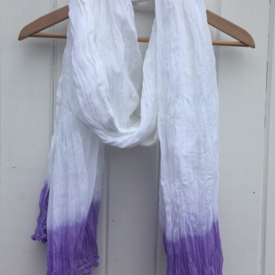 Large Cotton Dip Dyed Lavender Scarf