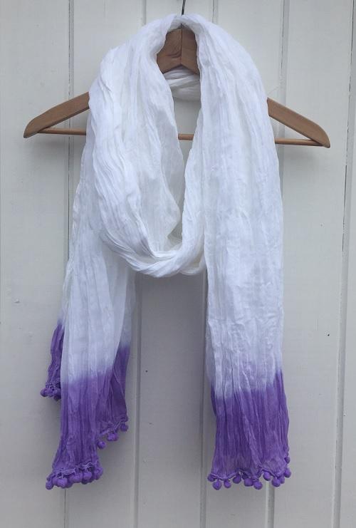 Large Cotton Dip Dyed Lavender Scarf