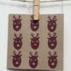 Hand printed Christmas card- Reindeers