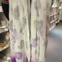 Hand printed Purple Scarf- Paisley & Feathers