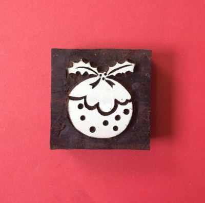 Indian wooden printing block- Christmas Pudding