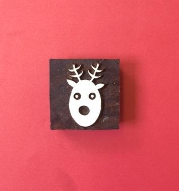 Indian wooden printing block- Christmas Reindeer