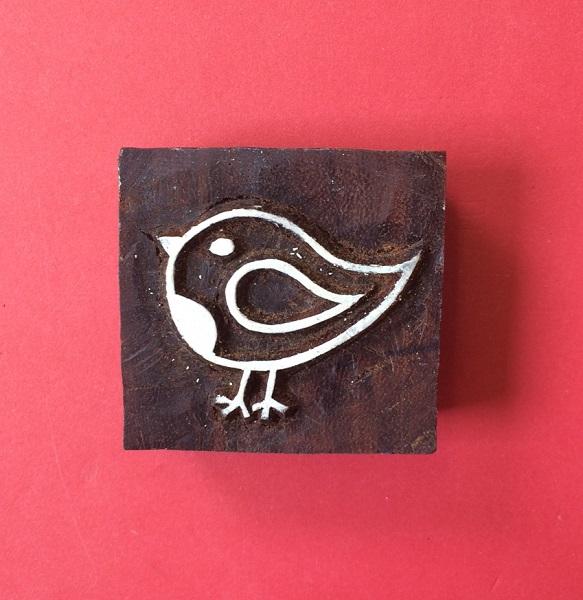 Indian wooden printing block- Robin