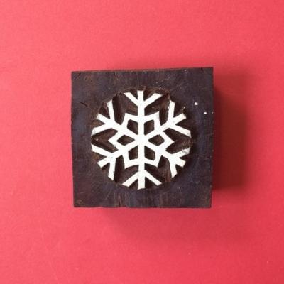 Indian wooden printing block- Snowflake