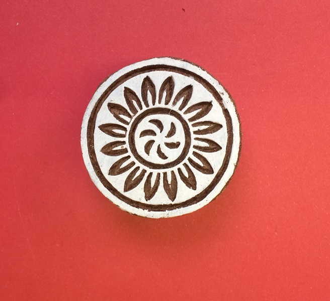 Indian wooden printing block- Flower in circle