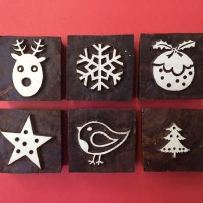 Indian wooden printing blocks- Christmas Set