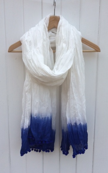 Large Blue Cotton Scarf