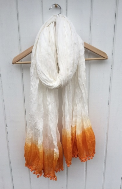 Large Cotton Orange Scarf