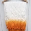 Orange dyed large white cotton scarf