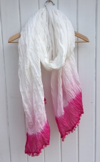 Large White Cotton Dip Dyed Pink Scarf