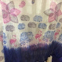 Hand printed Blue Elephant & Flamingo scarf