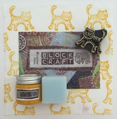 Indian Wooden Block Printing Kit- Small Cat