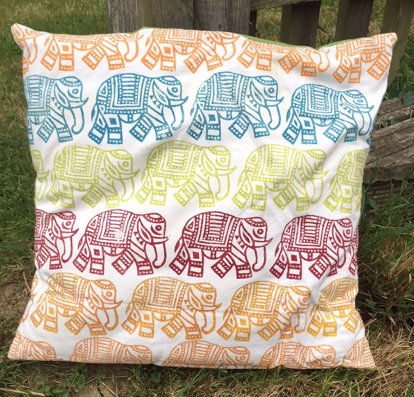 Block Printed Elephant Cushion Cover