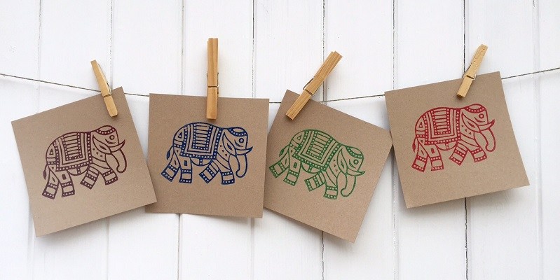 Hand Block Printed Elephant Cards