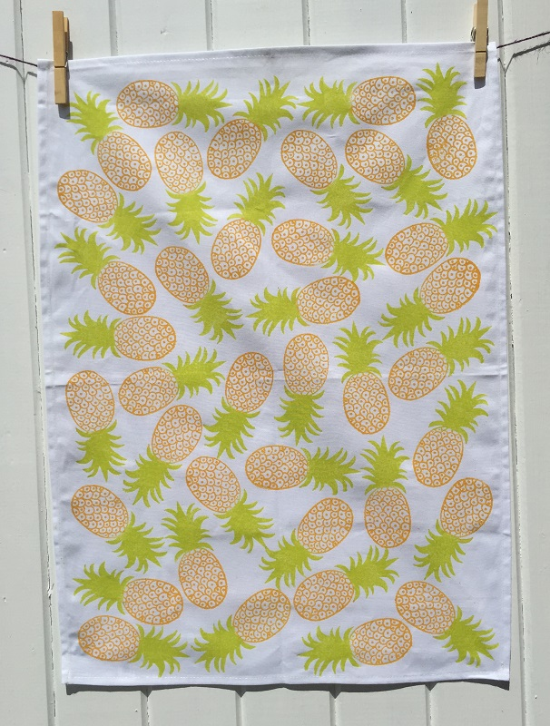 Hand Block Printed Pineapple Tea Towel
