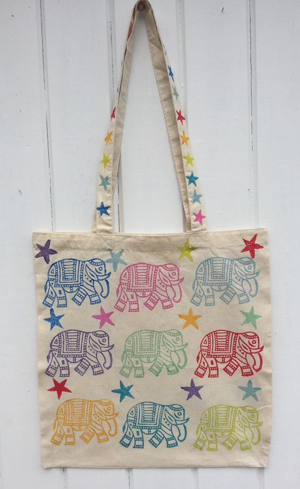 Hand Block Printed Elephant Tote Bag