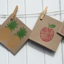 Block Printed Funky Fruits Cards