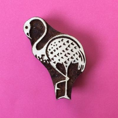 Indian Wooden Flamingo Printing Block