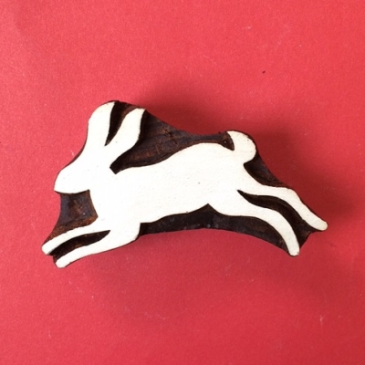 Indian Wooden Printing Block- Jumping Hare