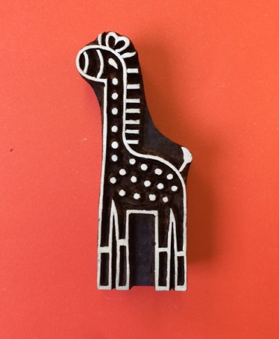 Large Giraffe Indian Wooden Printing Block