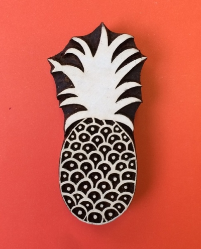 Large Pineapple Wooden Printing Block