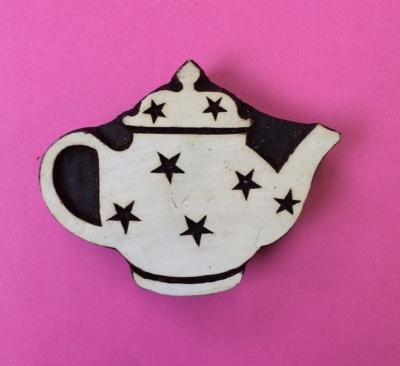 Indian Wooden Printing Block- Medium Starry Teapot