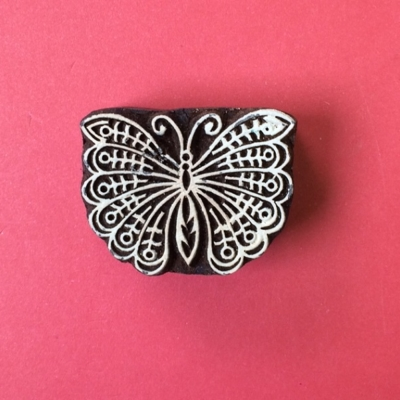 Indian Wooden Printing Block- Small Indian Butterfly