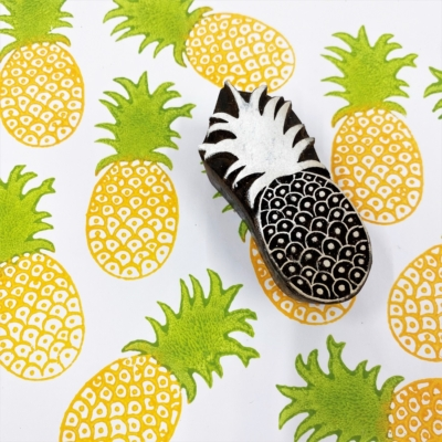 Indian Wooden Printing Block- Small Pineapple