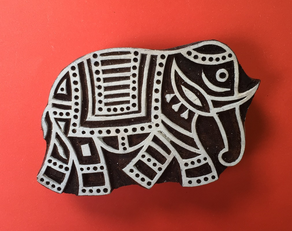 Large Indian Walking Elephant Printing Block