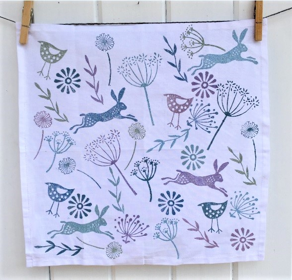 Leaping Hare Block Printed Cotton Napkin