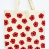 Block Printed Tote Bag- Red Remembrance Day Poppy