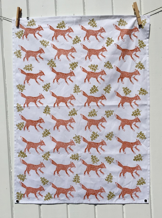 Block Printed Fox & Leaves Tea Towel