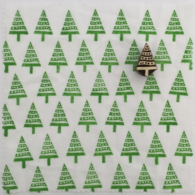 Indian Block Printed Christmas Fabric