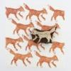 Indian Block Printed Brown Fox Fabric