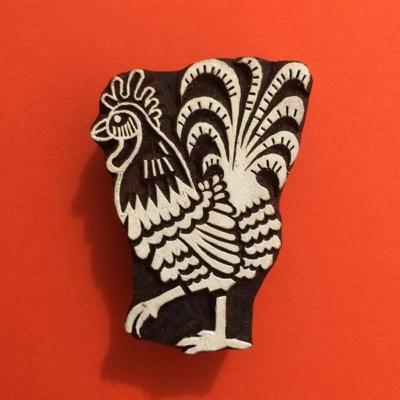 Indian Wooden Printing Blocks - Cockerel
