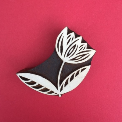 Indian Wooden Printing Blocks - Curved Tulip Flower