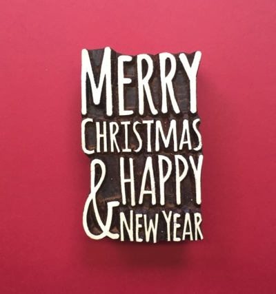 Indian Wooden Printing Blocks - Merry Christmas & Happy New Year Large