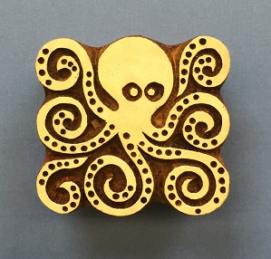 Indian Wooden Printing Blocks- Octopus