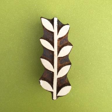Indian Wooden Printing Blocks - Single Leaf Vine Repeat