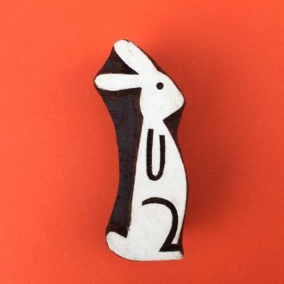 Indian Wooden Printing Blocks- Funky Sitting Bunny
