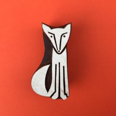 Indian Wooden Printing Blocks - Sitting Fox