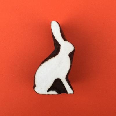 Indian Wooden Printing Blocks- Small Sitting Bunny