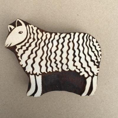 Indian Wooden Printing Blocks - Wavy Sheep