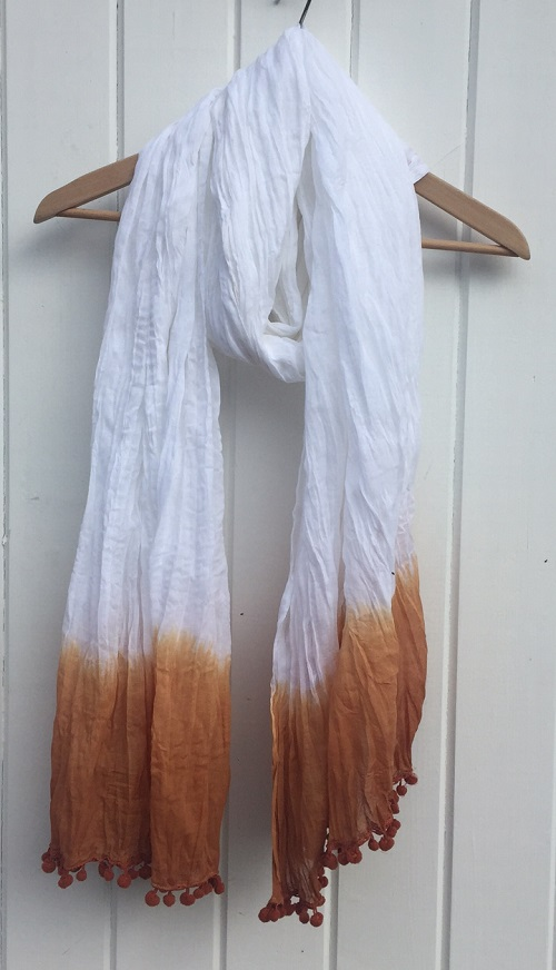 Large Cotton Dip Dyed Terracotta Scarf